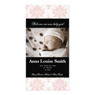 Paris Pink Damask Birth Announcement Cards Photo Card