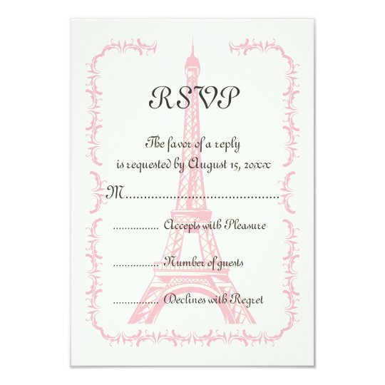 Paris pink Eiffel Tower destination wedding RSVP Card
