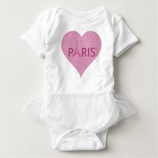 Paris Pink Eiffel Tower Heart Baby Bodysuit