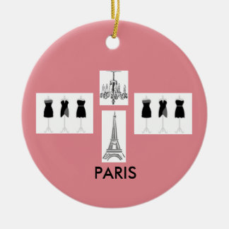 Paris Pink French Themed Christmas Ornament