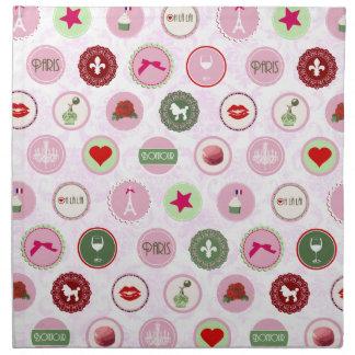 Paris Pink girly Shabby Chic pattern Napkin