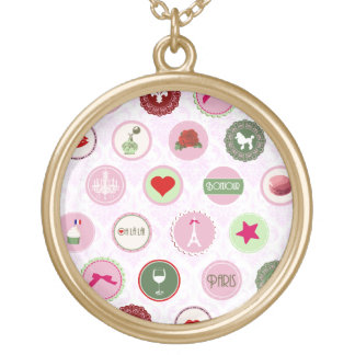 Paris Pink girly Shabby Chic pattern Necklace