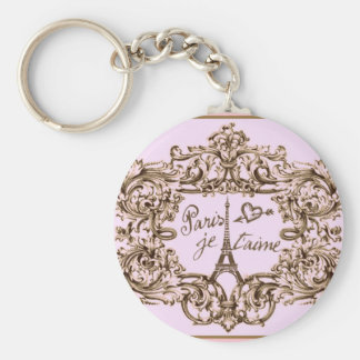 PARIS PINK JET'AIME BAROQUE EIFFEL AND HEART BASIC ROUND BUTTON KEY RING