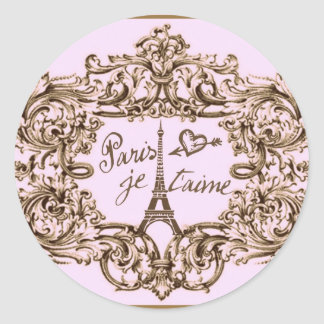 PARIS PINK JET'AIME BAROQUE EIFFEL AND HEART CLASSIC ROUND STICKER
