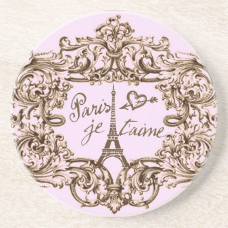 PARIS PINK JET'AIME BAROQUE EIFFEL AND HEART COASTERS