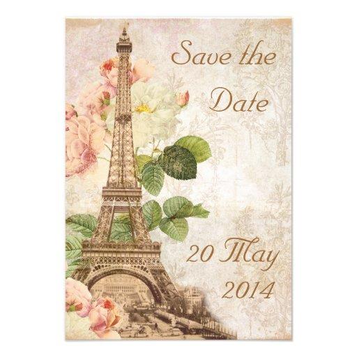 Paris Pink Rose Vintage Romantic Save the Date Announcements