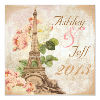 Paris Pink Rose Vintage Romantic Wedding Invite