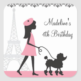 Paris Poodle Birthday Stickers