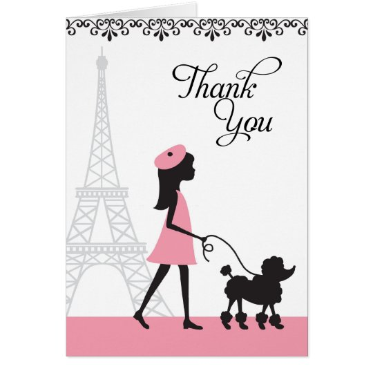 Paris Poodle Thank You Cards