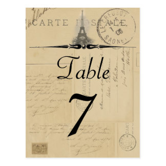Paris Postcard Table Number