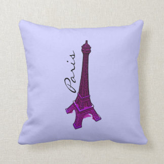 Paris, purple  Eiffel tower Cushion