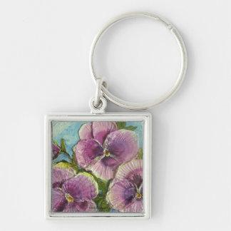 Paris' Purple Pansies Silver-Colored Square Key Ring