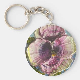 Paris' Purple Pansy Basic Round Button Key Ring