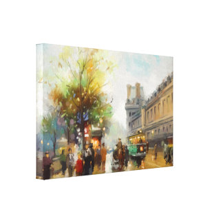 Paris Rainy Day Street Scene Watercolor Painting Stretched Canvas Prints