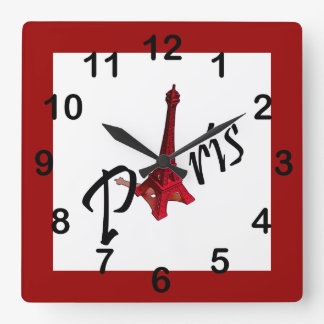 Paris, red Eiffel tower Square Wall Clock