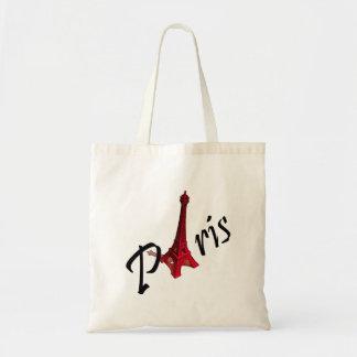 Paris, red Eiffel tower Tote Bag