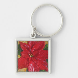 Paris' Red Poinsettia Silver-Colored Square Key Ring