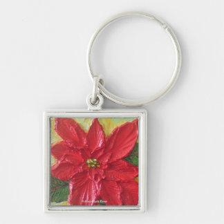 Paris Red Poinsettia Key Chain