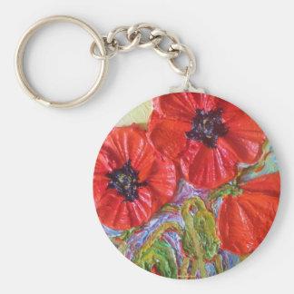 Paris' Red Poppies II Basic Round Button Key Ring