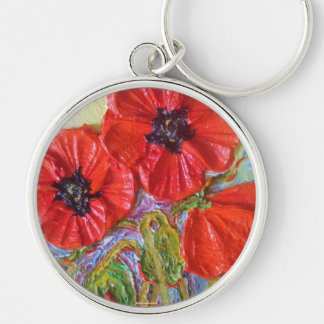 Paris' Red Poppies II Silver-Colored Round Key Ring