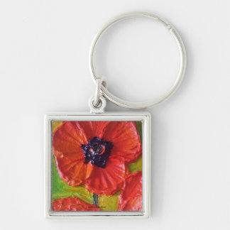 Paris' Red Poppies Silver-Colored Square Key Ring