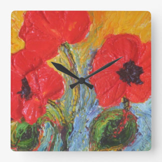 Paris' Red Poppies Wall Clock