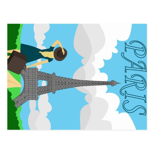 Paris retro style design postcard