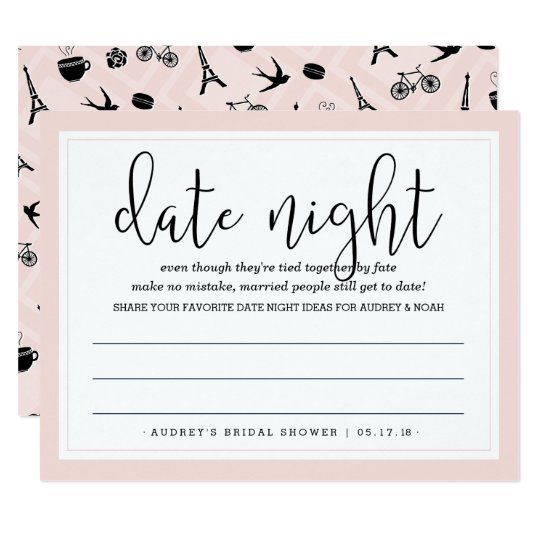 date night gift certificate templates - paris romance bridal shower date night card