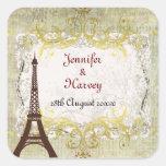 Paris Romantic Vintage Style Square Stickers