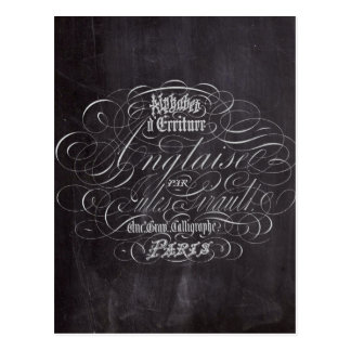 Paris rustic country chalkboard French Scripts Postcard