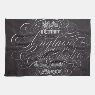 Paris rustic country chalkboard French Scripts Tea Towel