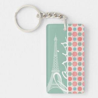 Paris; Salmon, Coral Pink, & Seafoam Double-Sided Rectangular Acrylic Key Ring