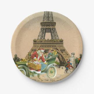 Paris Santa and Snowman Christmas Paper Plate 7 Inch Paper Plate
