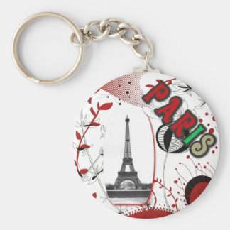 Paris seventies basic round button key ring