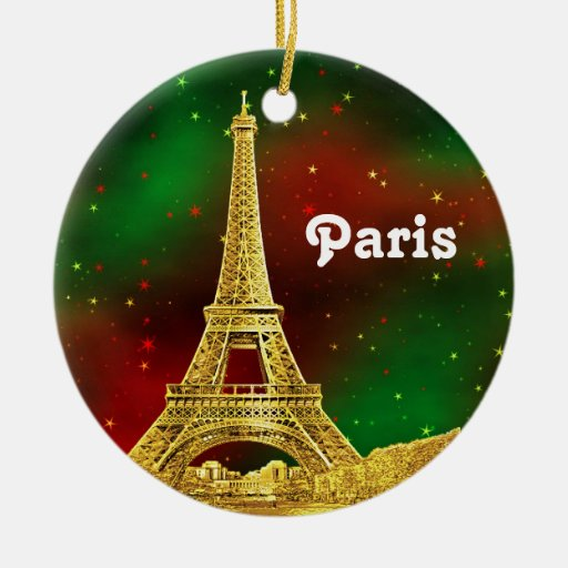 Paris Skyline Etched, Green Red Starry Sky Xmas Ornaments