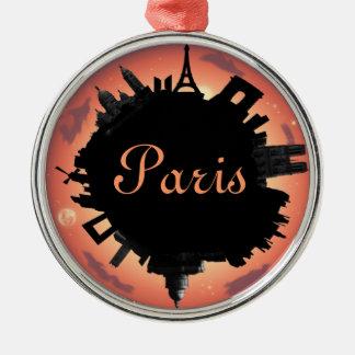 Paris skyline evening Silver-Colored round decoration