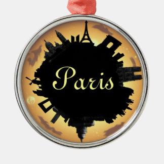 Paris skyline gold evening Silver-Colored round decoration