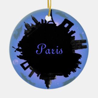 Paris skyline violet  evening round ceramic decoration