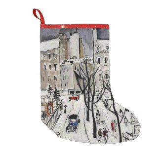 Paris Snow Scene, 1926 Small Christmas Stocking