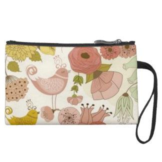 """Paris-Spring* Mini-Clutch_Purse_Floral+Rose II Suede Wristlet"