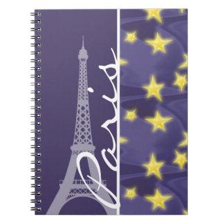 Paris Starry Night; Eiffel Tower Spiral Notebook