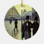 Paris Street Rainy Day by Caillebotte, Vintage Art Round Ceramic Decoration
