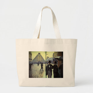 Paris Street Rainy Day by Caillebotte, Vintage Art Jumbo Tote Bag