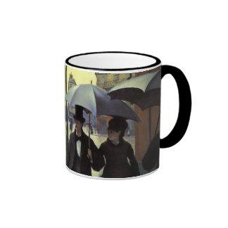 Paris Street Rainy Day by Caillebotte, Vintage Art Ringer Mug