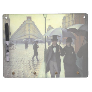 Paris Street Rainy Day by Gustave Caillebotte Dry Erase Board With Key Ring Holder