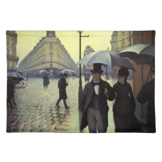 Paris Street Rainy Day by Gustave Caillebotte Place Mats