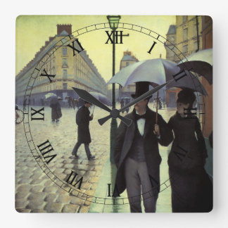 Paris Street Rainy Day by Gustave Caillebotte Square Wall Clock
