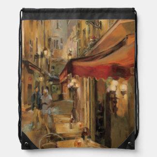 Paris Street Scene Drawstring Bags