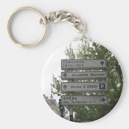 Paris Street Sign, France Basic Round Button Key Ring