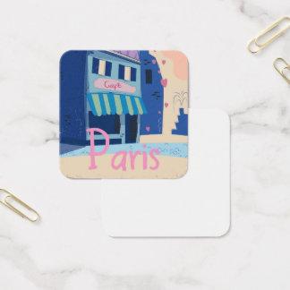 Paris Street vintage cartoon Square Business Card